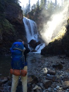 K capturing the falls on his phone.